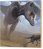 Artwork Of A Tyrannosaurus Rex Hunting Wood Print