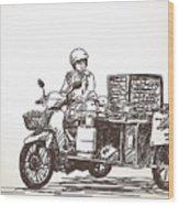 Asian Street Food On Motorbike, Hand Wood Print