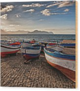Aspra Boatyard Wood Print