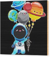 Astronaut With Planet Balloons Outta Space Wood Print