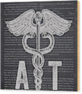 Athletic Trainer Gift Idea With Caduceus Illustration 02 Wood Print