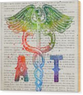 Athletic Trainer Gift Idea With Caduceus Illustration 03 Wood Print
