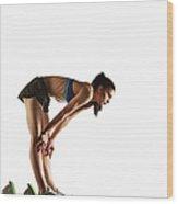 Athlete Resting At Starting Block Wood Print