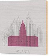 Atlanta Landmarks Wood Print