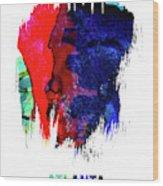 Atlanta Skyline Brush Stroke Watercolor   Wood Print