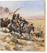 Attack On The Wagon Train Wood Print