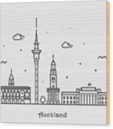 Auckland Cityscape Travel Poster Wood Print