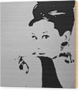 Audrey B W Wood Print