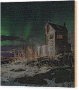Aurora Borealis Over Harstad Wood Print