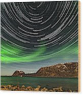 Aurora Borealis With Startrails Wood Print