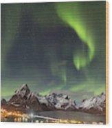 Aurora In Lofoten Wood Print