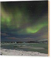 Auroras En Jokulsarlon Islandia Wood Print