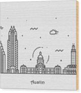 Austin Cityscape Travel Poster Wood Print