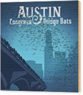 Austin Congress Bridge Bats In Blue Silhouette Wood Print