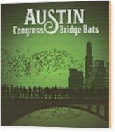 Austin Congress Bridge Bats In Green Silhouette Wood Print