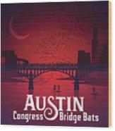 Austin Congress Bridge Bats In Red Silhouette Wood Print