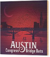 Austin Congress Bridge Bats Wood Print