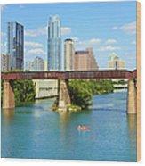Austin Texas Skyline, Colorado River Wood Print