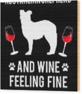 Australian Shepherd And Wine Felling Fine Dog Wood Print