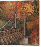 Autumn Across The Bridge  Wood Print