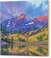 Autumn Colors At Maroon Bells And Lake Wood Print