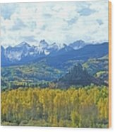 Autumn Colors In The Sneffels Mountain Wood Print