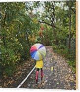 Autumn  Fall Concept - Woman Walking In Wood Print