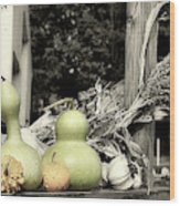 Autumn Farm Stand Wood Print
