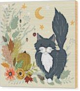 Autumn Garden Moonlit Kitty Cat Wood Print