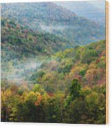 Autumn Hillsides With Mist Wood Print