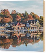 Autumn Houses On The Water Wood Print