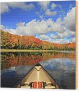 Autumn In A Canoe Wood Print