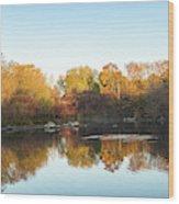Autumn Mirror - Silky Wavelets Caused By Ducks Wood Print