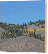 Autumn Moon Setting Panoramic View Wood Print