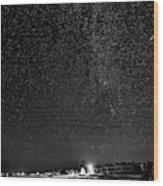 Autumn Night - Sauble Beach - Two Galaxies Bw Wood Print