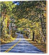 Autumn Paved Wood Print