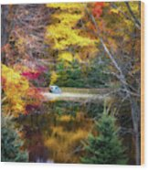 Autumn Pond With Rowboat Wood Print