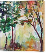 Autumn Trees Watercolors Wood Print