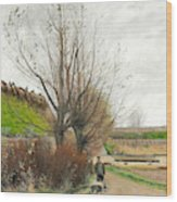 Autumn Weather. A Man With A Wheelbarrow On A Path Wood Print