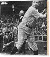 Babe Ruth Eye On Ball Wood Print