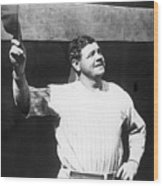 Babe Ruth Salutes The Crowd Wood Print