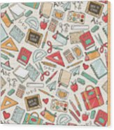Back To School Seamless Pattern With Wood Print