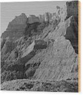 Badlands South Dakota Black And White Wood Print