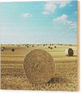 Bales Of Hay In Harvested Field Wood Print