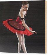 Ballerina On Point Wood Print
