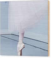 Ballerina On Pointe Low Angle View Wood Print
