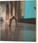 Ballerina Standing In Ballet Shoes Wood Print