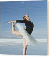 Ballerina Tip Toe Pose Wood Print