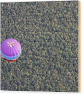 Balloon Over Forest Wood Print
