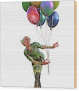 Balloons And Happy Guy Wood Print
